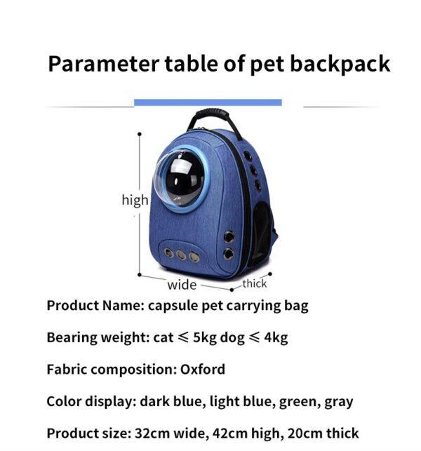 Dimension of a pet carrier bag