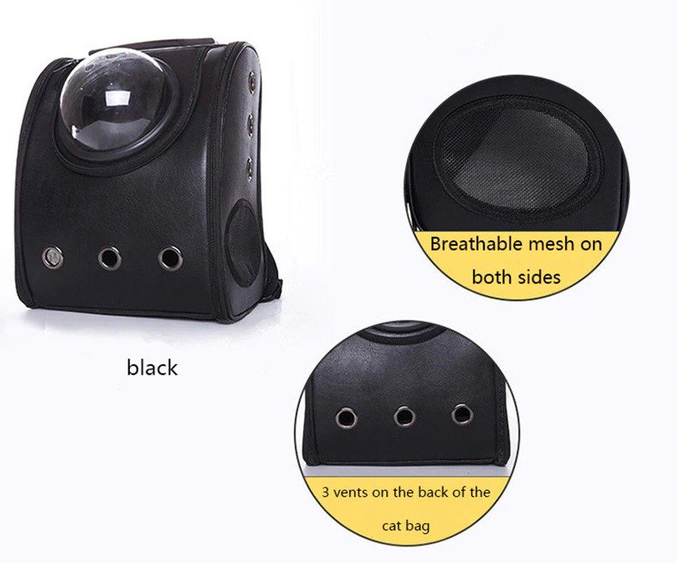 Black Pet carrier bubble backpack