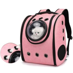 Cat Bubble Backpack – Leather Pet Carrier Bag for Cats and Small Dogs