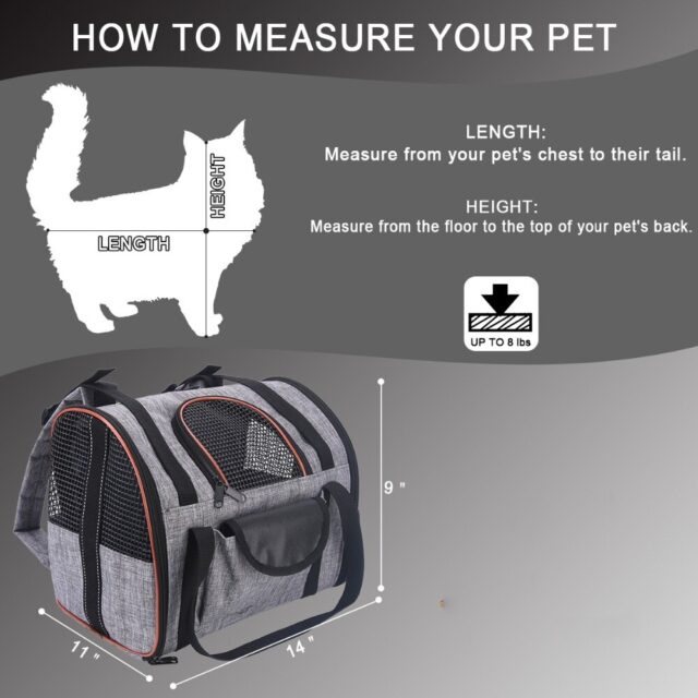 Dimensions of a breathable cat carrier