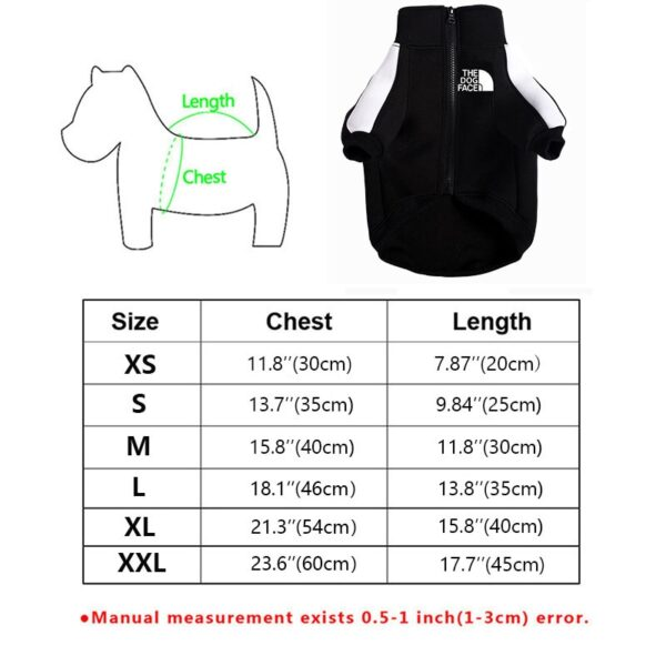 size chart for dog sweatshirt jacket