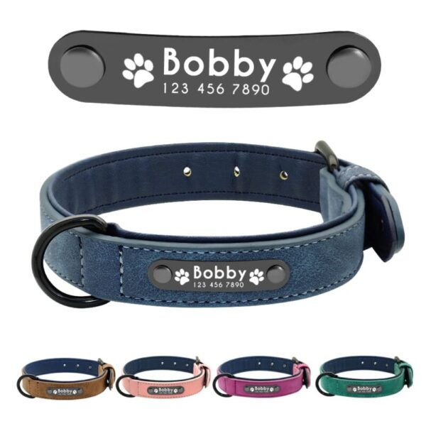 Personalized Leather Dog Collars with name tags