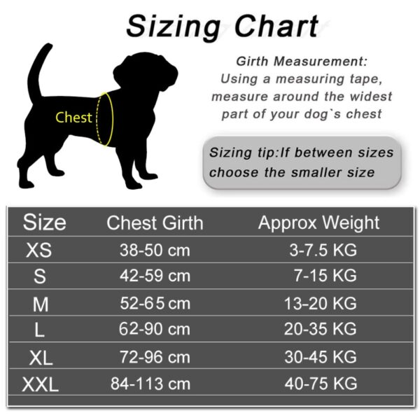 Size chart for dog harnesses