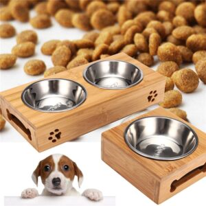 Elevated Dog Bowls – Bamboo Stand Single or Double