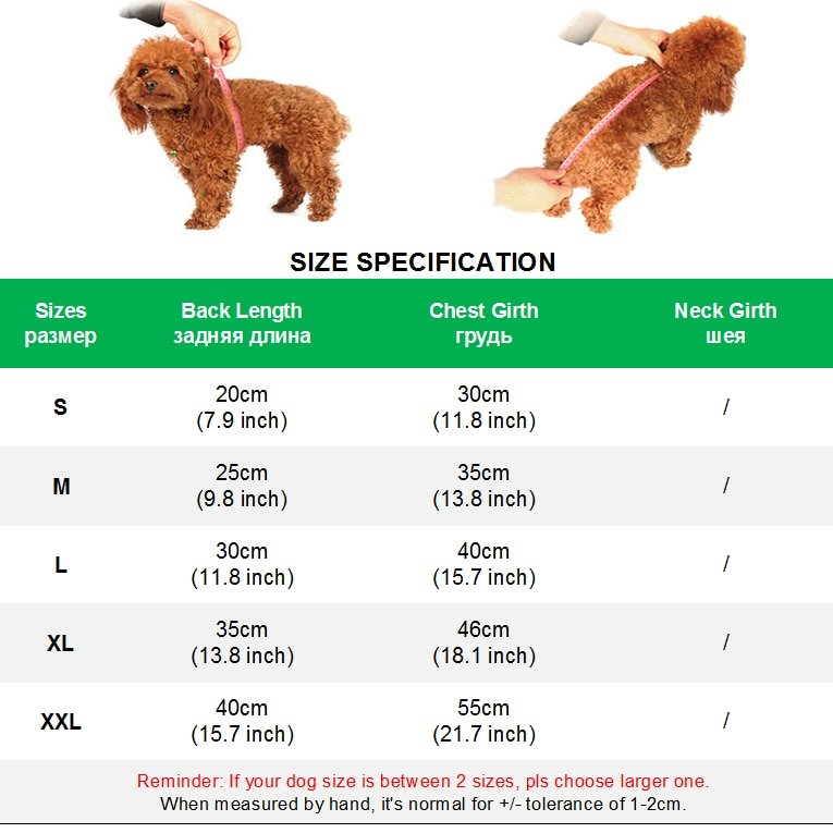 size chart for dog jackets