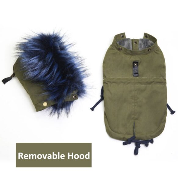 Removable hood from the fleece dog jacket