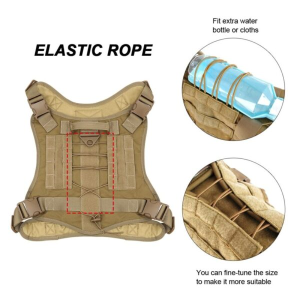 Elastic rope on the bac of the tactical dog harness