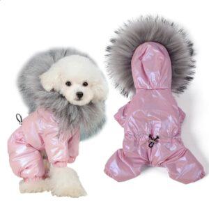 Waterproof Dog Coat with Legs – Fur Collar Winter Dog Suit