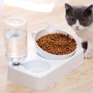 Pet Water Dispenser And Feeder – Elevated Dog and Cat Feeding Station