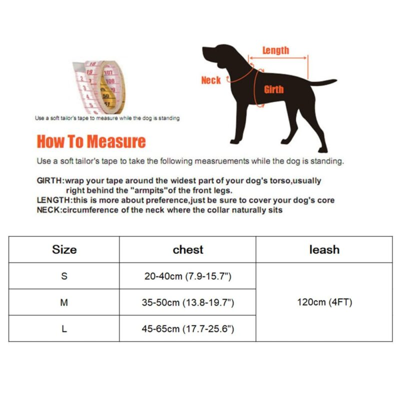 Sizes and measurements for small dog harness