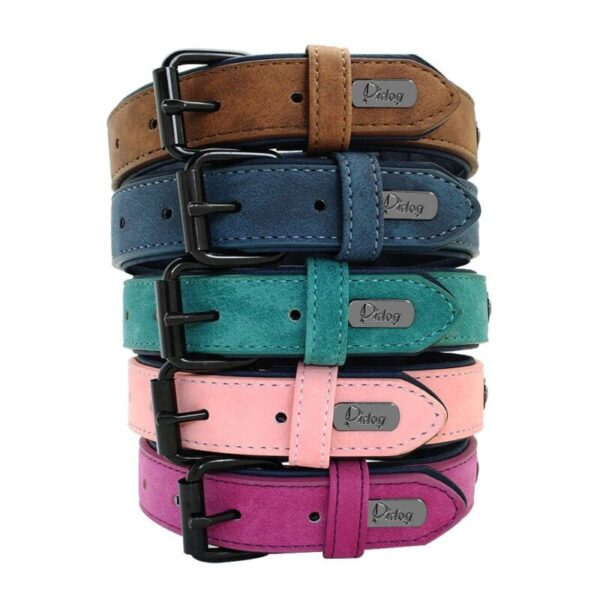 5 Colors of custom dog collars from leather
