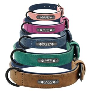 Custom Leather Dog Collars – Genuine Leather Collars with Name Tag