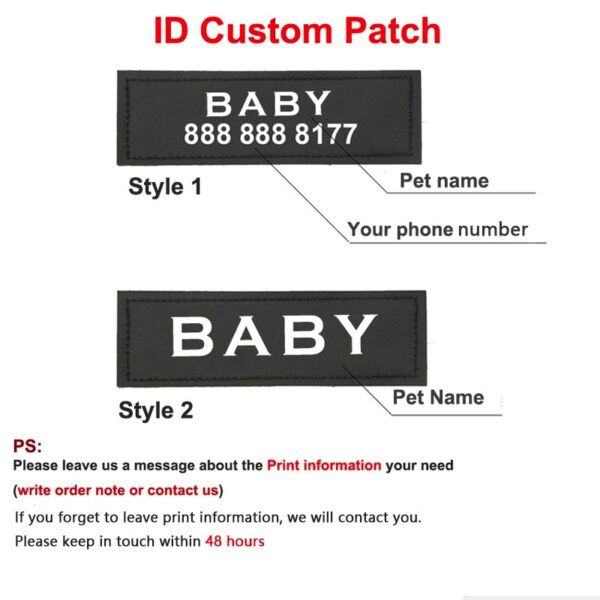 Instructions for the Name Patch of the personalized dog harness