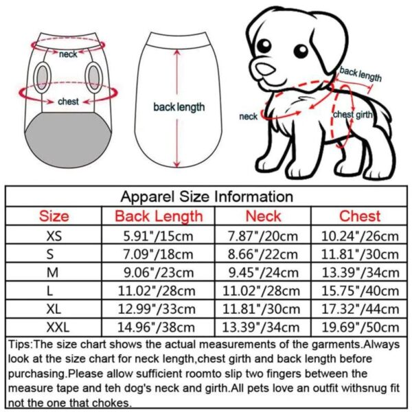 Size chart for christmas dog jumper
