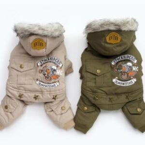 Warm Dog Coats – Hodded Dog Biker Jackets for Winter