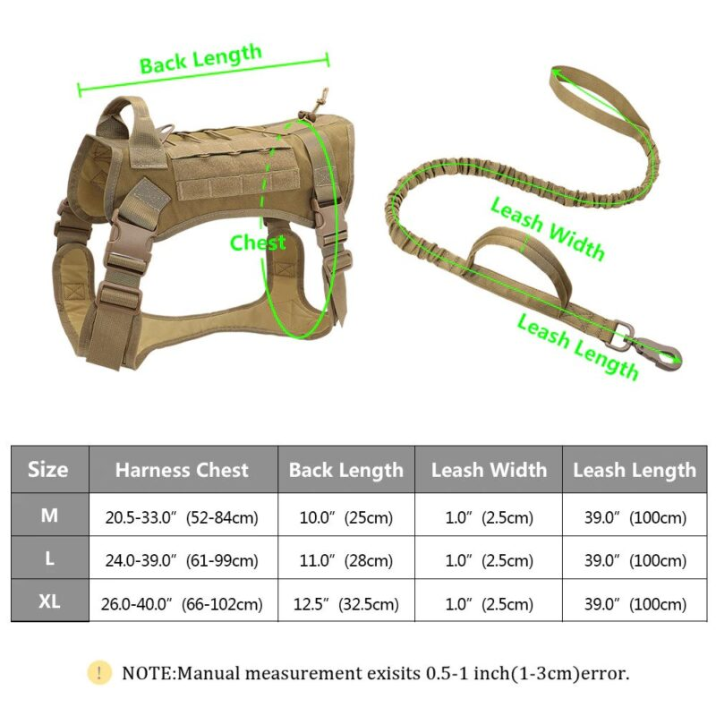 dimensions of tactical dog harness and leash