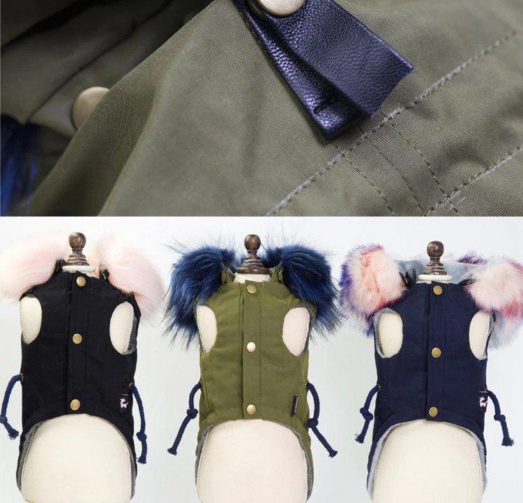 multiple colors of fleece dog jackets