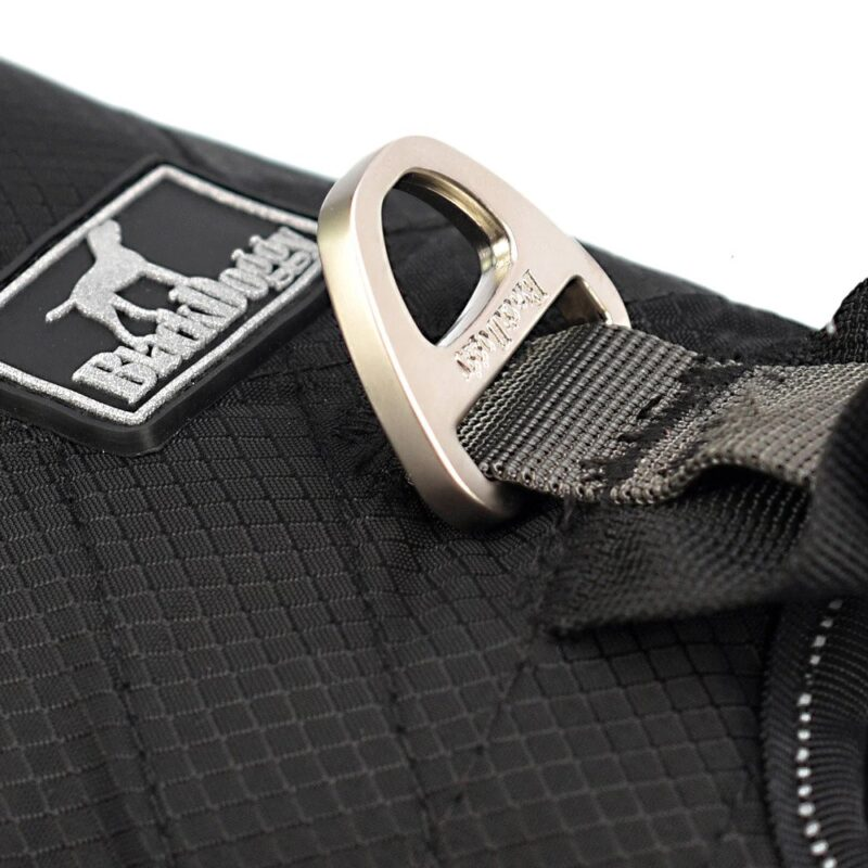 stainless steel buckle on the back of the nylon dog harness
