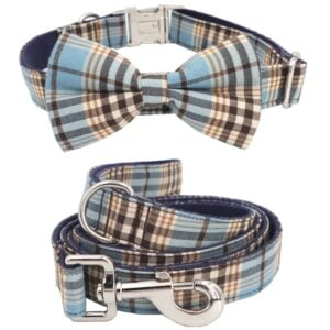 Blue Plaid Bow Tie Dog Collar with Matching Leash