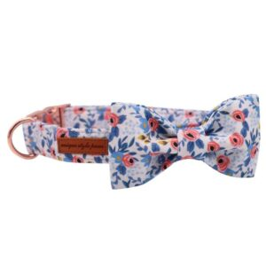 Floral Bow Tie Dog Collar with Matching Leash