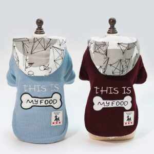 Cotton Hooded Dog Jacket With Fleece Lining