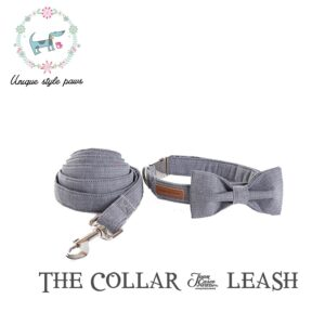 Grey Bow Tie Dog Collar with Matching Leash