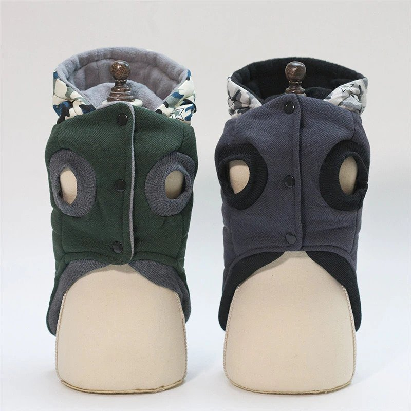 Dog Coats With Camouflage Hood Front Side