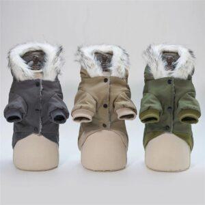 Military Dog Jacket with Hood and Fur Collar
