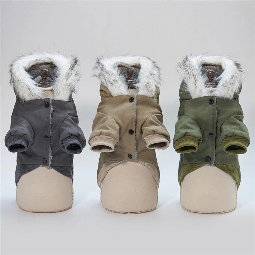 Front side of military dog coats with hoods