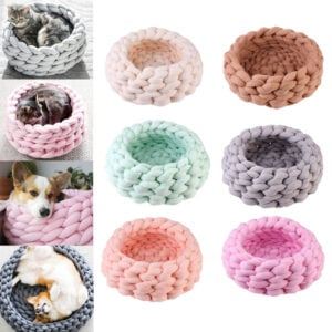 Knitted Cat Bed – 100% Soft Cotton Pet Kennel