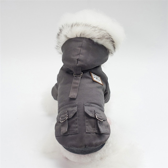 Grey Military Dog Jacket with fur collar and hood