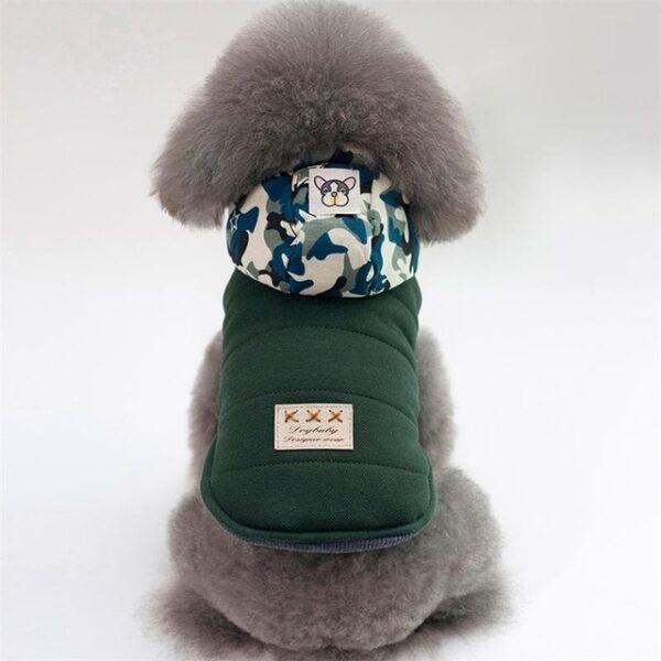 Dark Green Dog Jacket with Camo Hood