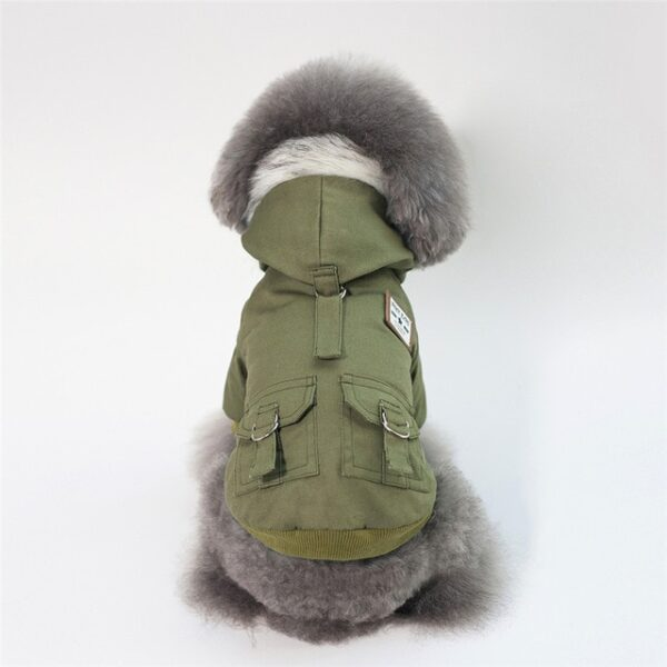 Green Military Dog Jacket with fur collar and hood