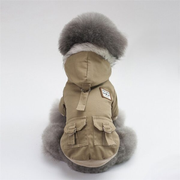 Khaki Military Hooded Dog Coat with fur collar