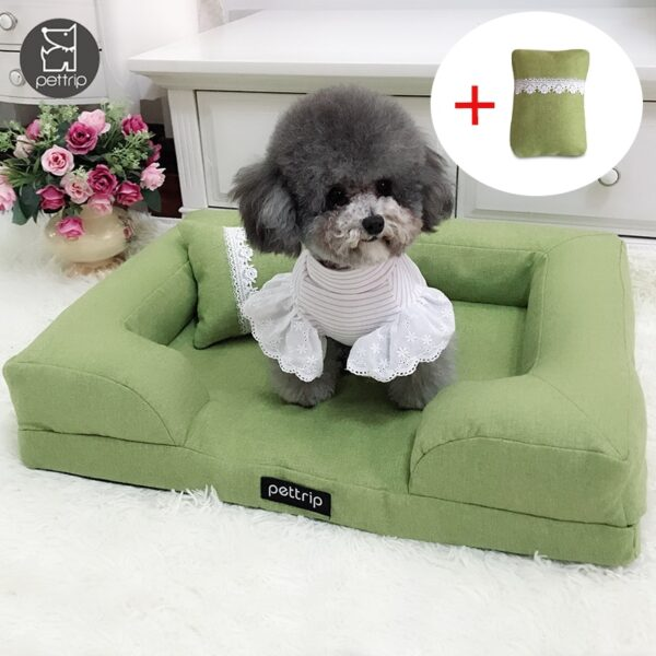 Green Dog Sofa Bed with Pillow