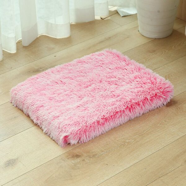 Pink Orthopedic faux fur dog bed