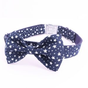 Navy Star Bow Tie Dog Collar with Matching Leash