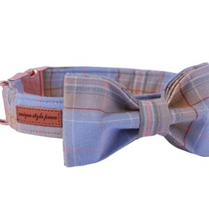 Summer Plaid Bow Tie Dog Collar with Matching Leash