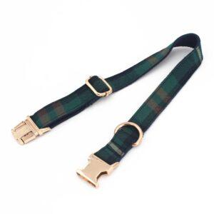 Tweed Tartan Bow Tie Dog Collar With Matching Leash