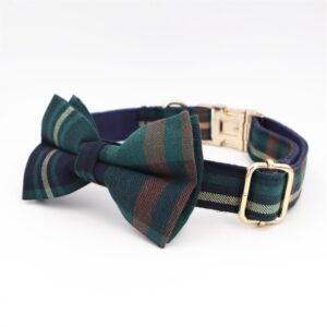 Tweed Tartan Bow Tie Dog Collar With Matching Leash