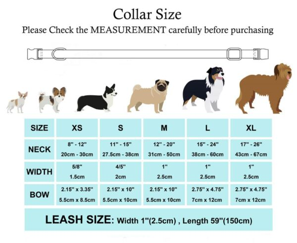 Bowtie Dog Collar with Matching Leash Size Guide