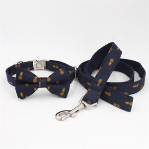 Tropical Pineapple Bow Tie Dog Collar With Matching Leash