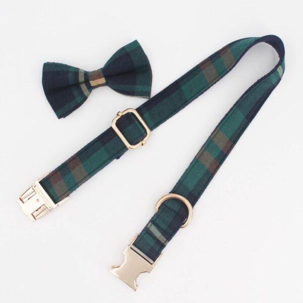 tweed tartan bow tie and dog collar