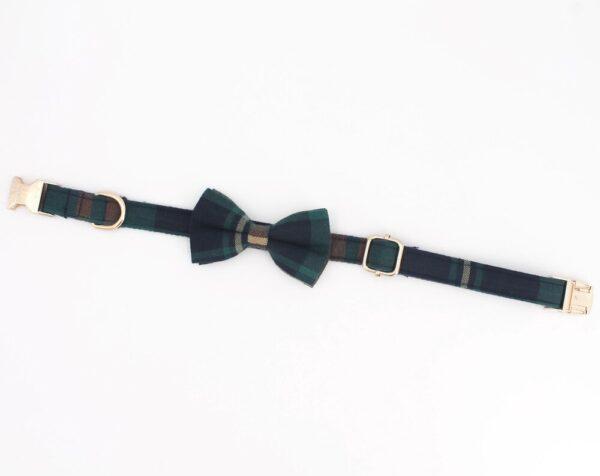 tweed tartan bow tie dog collar