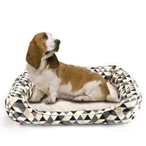 Modern Plaid Bolster Dog Bed