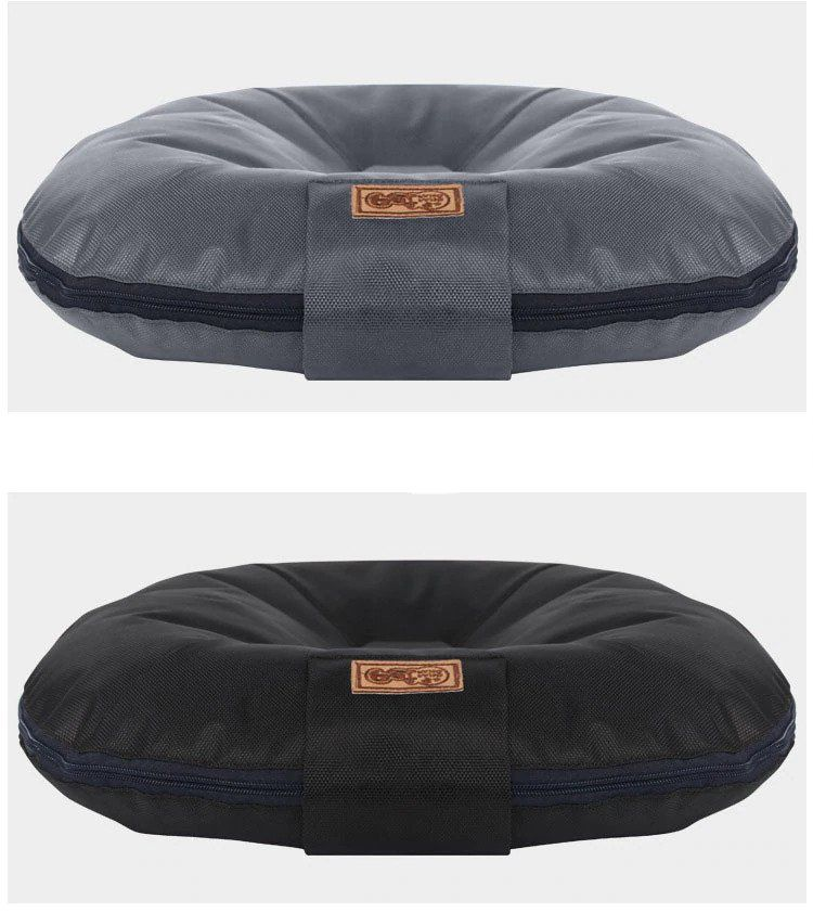 grey and black breathable dog pillow bed