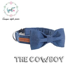 Denim Bow Tie Dog Collar with Matching Leash