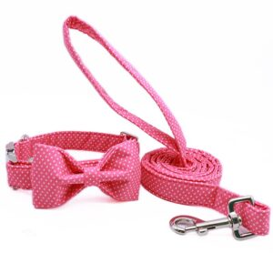 Pink Bow Tie Dog Collar with Matching Lash