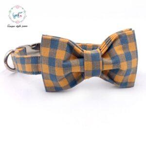 Orange Plaid Bow Tie Dog Collar with Matching Leash