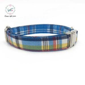Casual Plaid Bow Tie Dog Collar with Matching Leash